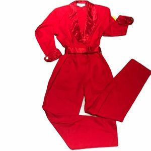 NWT Vintage 80s Joan Walters Red V-Neck Jumpsuit